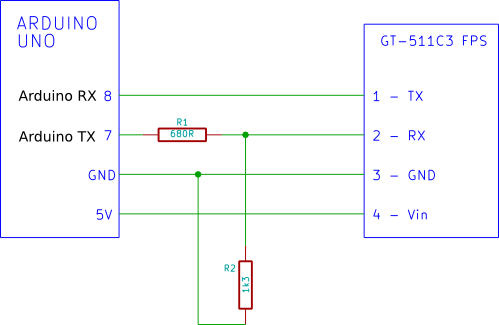 Wiring diagram for testing the GT-511C3 fingerprint module using Arduino