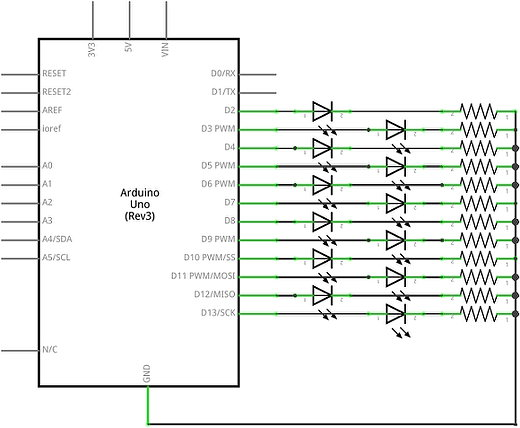 Dual LED Chaser Arduino Project Circuit Diagram