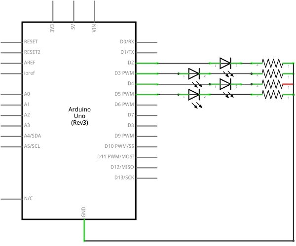 Moving Light Display Arduino Project Circuit Diagram