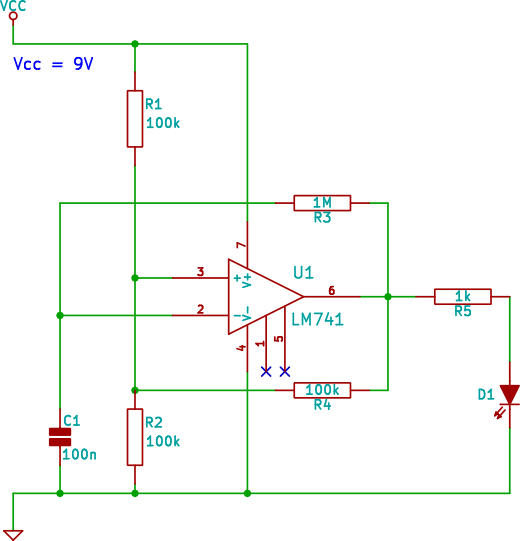 Opamp Oscillator LED Flasher Circuit Beginner Electronics Circuit