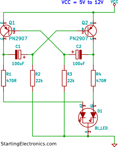two colour LED flasher circuit two colour led flasher circuit using tri colour led 12v flasher circuit diagram at bayanpartner.co