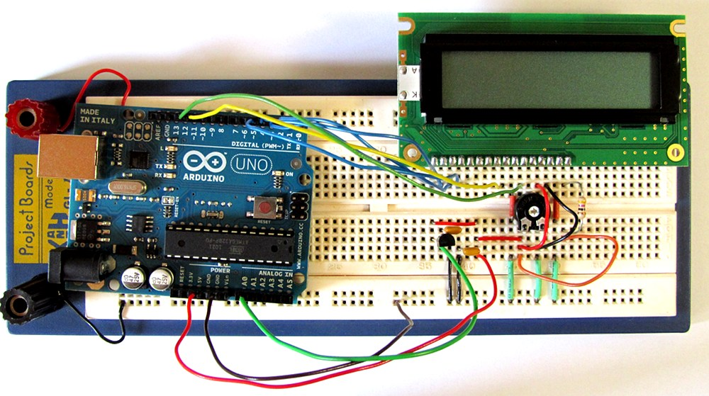 Tutorial arduino lcd thermometer circuit and sketch