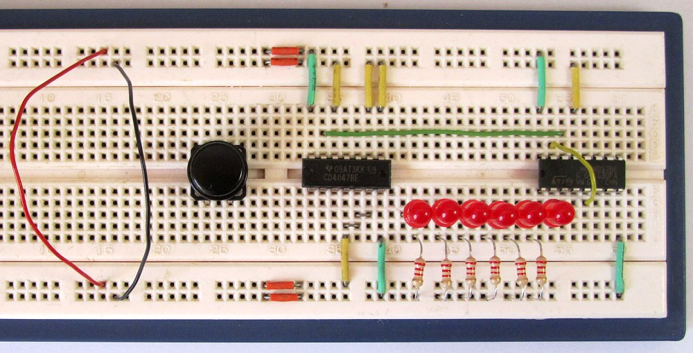 Breadboard Wiring Diagram: Tutorial 17: Electronic Dice Circuit for Beginners in Electronicsrh:startingelectronics.org,Design