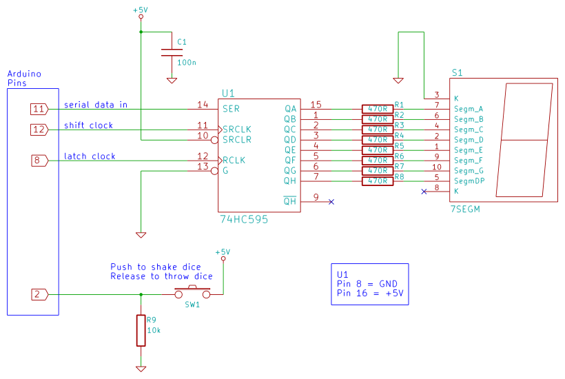 Tutorial arduino dice circuit and sketch using a