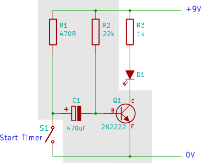 tutorial 2 transistor timer circuit rh startingelectronics org Transistor Circuits Explained Light Timer Circuit