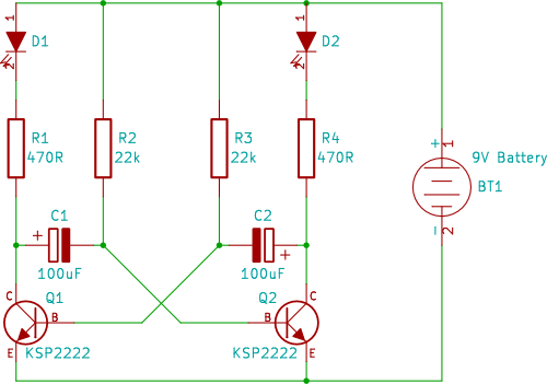 tutorial 8 dual led flasher circuit for beginners in electronics rh startingelectronics org 3 pin led flasher relay wiring diagram 5 pin led flasher relay wiring diagram