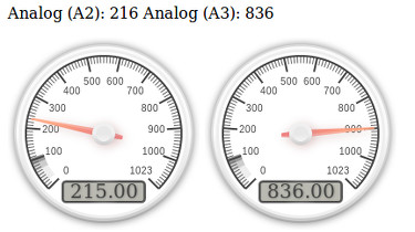 Arduino web server with two analog gauges