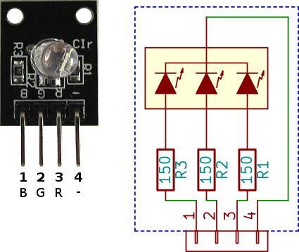 Pin diagram led rgb Arduino RGB