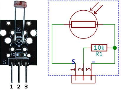 Photo Resistor Sensor Module Pinout | LDR