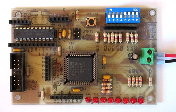 Xilinx CPLD Board - Home made single sided PCB for experimenting ...