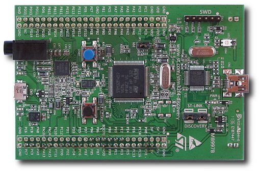 STM32F4 Discovery evaluation board, top view