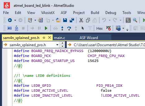 ASF Tutorial LED Blink Project on Atmel Xplained Pro ARM Board