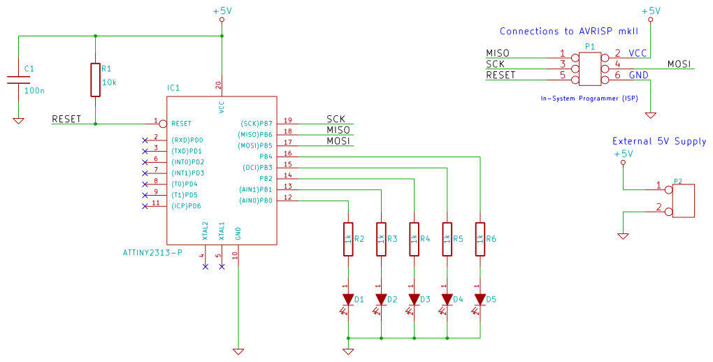 P3 Output Pins on knight rider circuit diagram