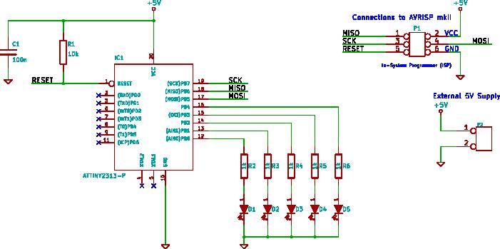 attiny2313 output pins