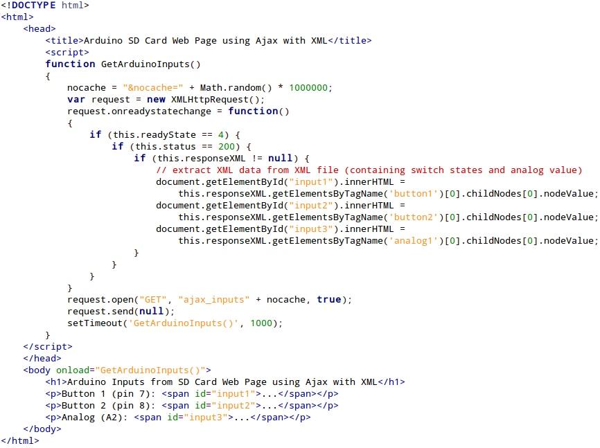 Arduino inputs using ajax with xml on web server